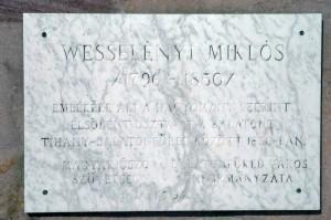 Wesselényi emlékkő felirata